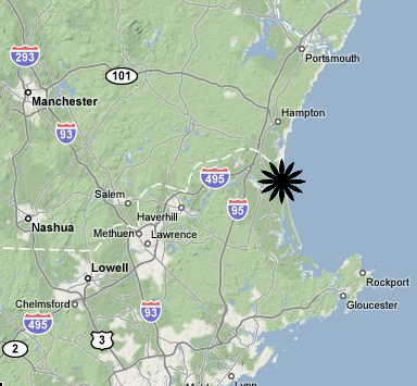 a map showing the location of Salisbury Beach State Reservation, MA